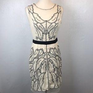 Anthropologie Rye Cream Sheer Leaf Stitch Dress